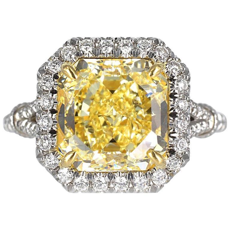 3.69 Carat GIA Certified Fancy Yellow Radiant Cut Diamond Platinum Ring