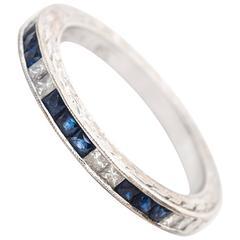 1950s Sapphire Diamond Gold Wedding Band Ring