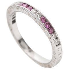 1950s Pink Amethyst Diamond Gold Wedding Band Ring
