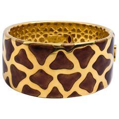 Roberto Coin  Panda Onyx Two Color Gold Bangle Bracelet