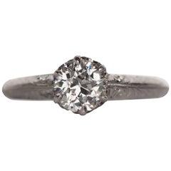 1910 Edwardian GIA Certified .74 Carat Diamond White Gold Engagement Ring