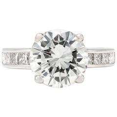 3.16 Carat Round Diamond Platinum Engagement Ring