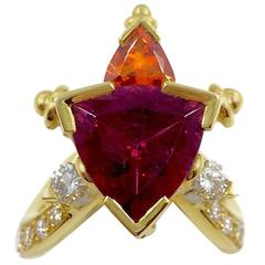 G. Minner Rubelite Mandarin Garnet Diamonds Gold Ring