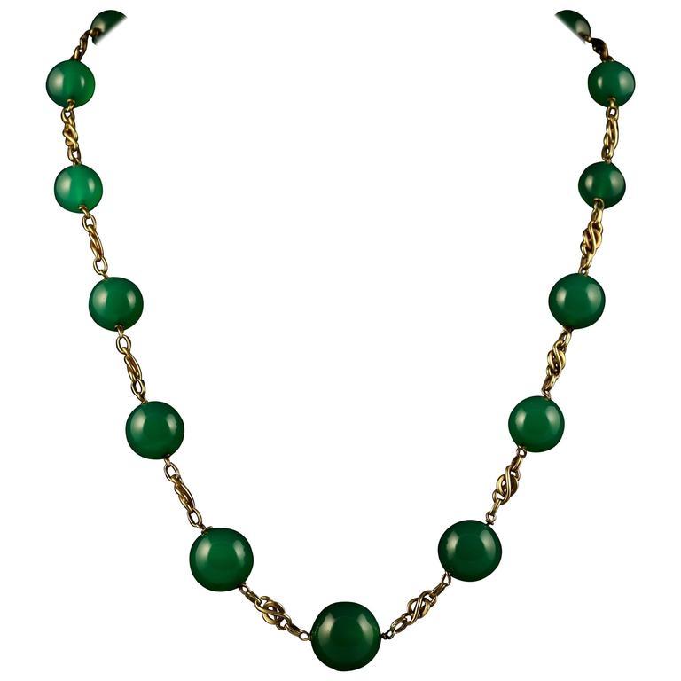Antique Victorian French Green Quartz Gold Necklace circa 1880