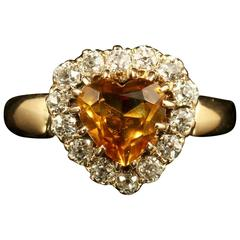 Antique Victorian Citrine Diamond Gold Heart Ring