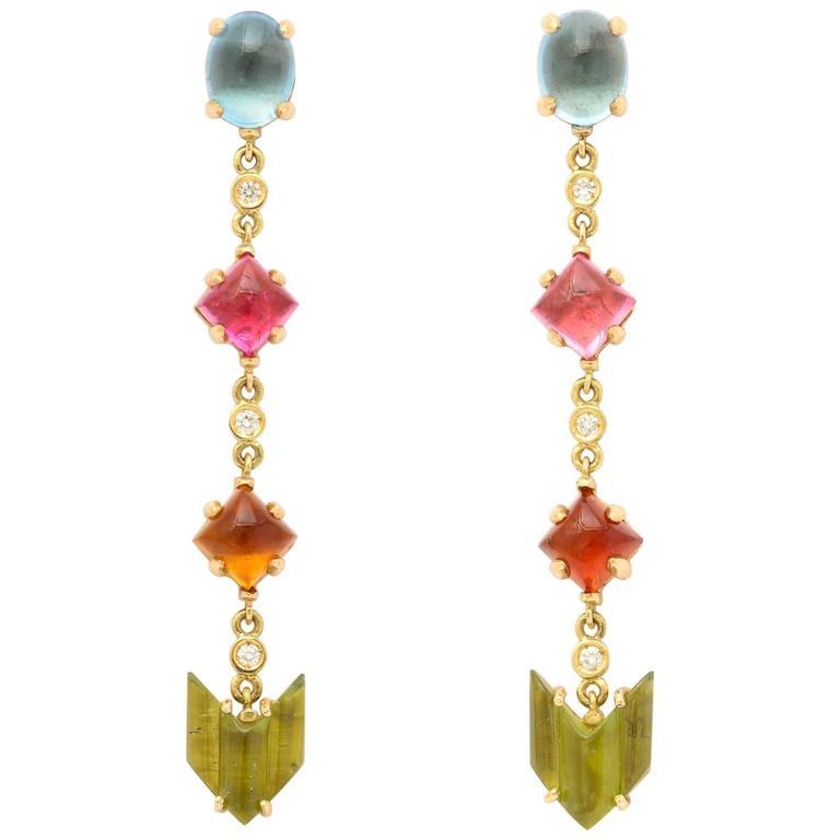 Semi Precious Stone Diamond Gold Drop Earrings 1