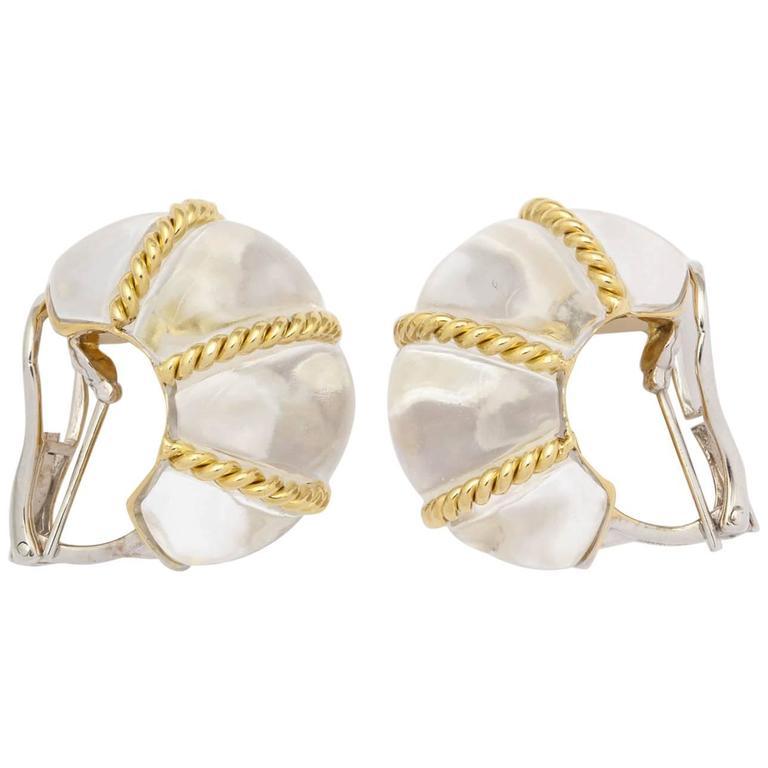rock Crystal Gold shrimp design earrings