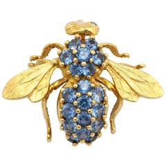Cartier Sapphire Yellow Gold Bee Pin
