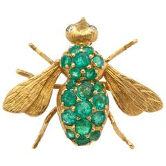 Rosenthal Emerald Yellow Gold Baby Bee Brooch