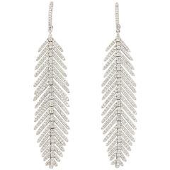 Diamond Gold Flexible Feather Earrings