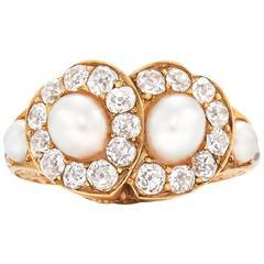 Victorian Pearl and Diamond Twin Hearts Ring, circa 1870
