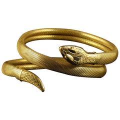 Antique Victorian Serpent Coiled Bangle Bracelet