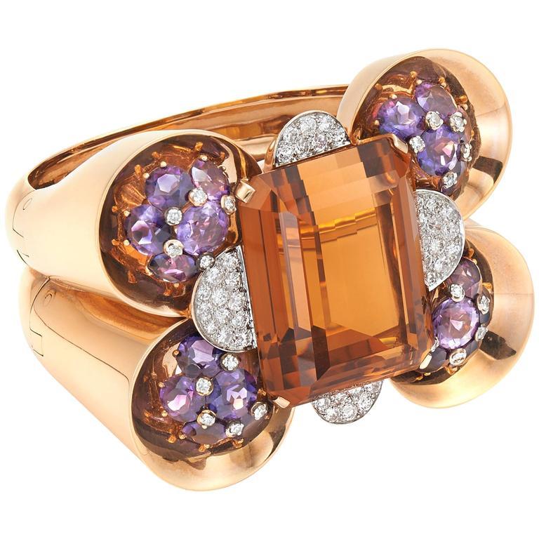 Trabert & Hoeffer Mauboussin Citrine Amethyst Diamond Reflection Bracelet