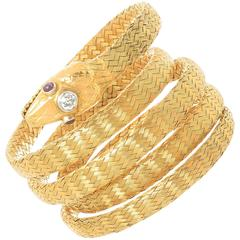 French Yellow Gold Victorian Snake Bracelet