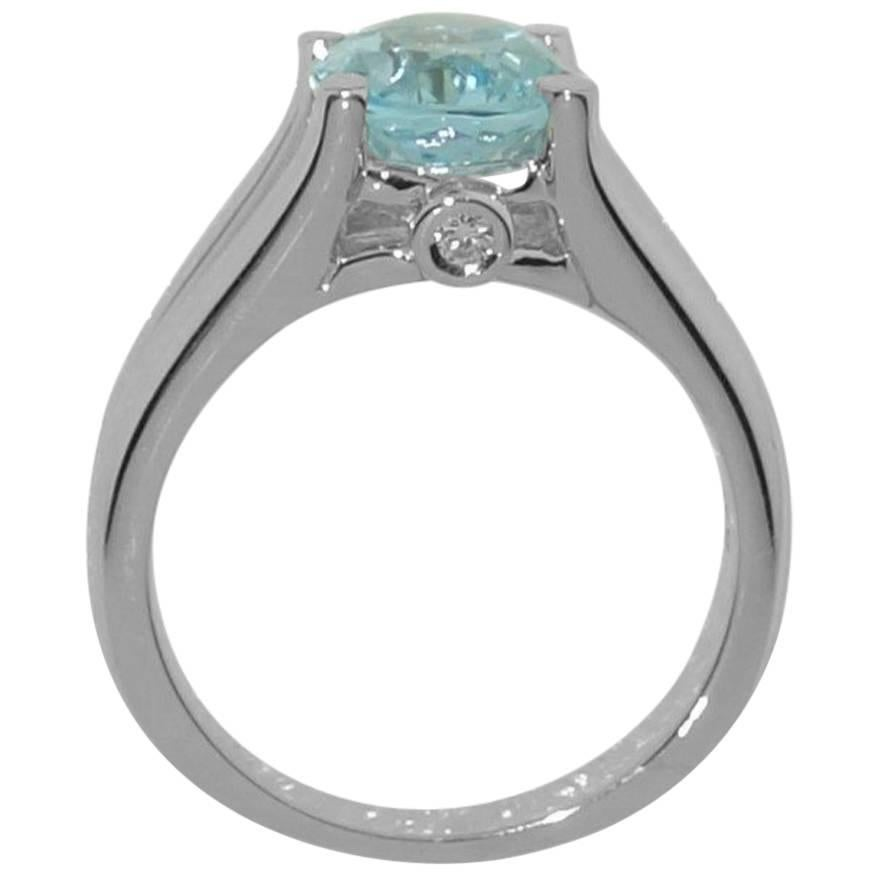 2.90 Carat Blue Topaz Diamond Solitaire Cocktail Ring Estate Fine Jewelry