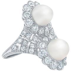 Edwardian Natural Pearl and Diamond Ring, circa 1910