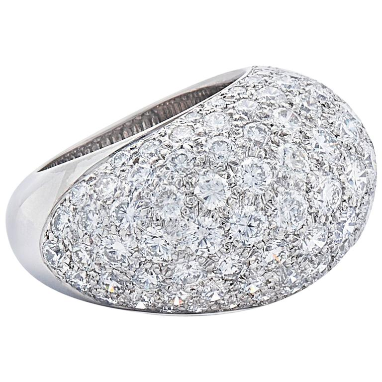 Pave Diamond Bombe Ring, French, circa 1950s