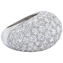 Pave Diamond Bombe Ring, French, circa 1950s