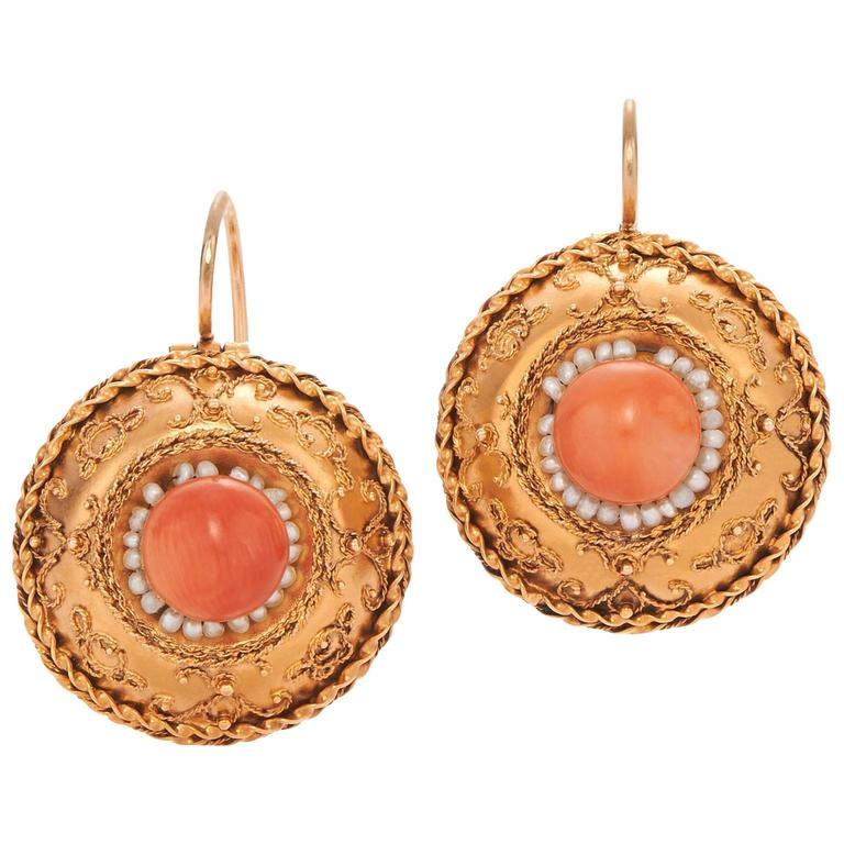 Etruscan Revival Gold Coral and Seed Pearl Pendant Earrings, circa 1860s