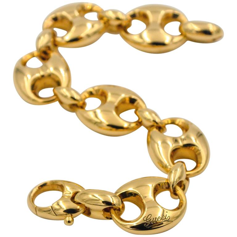Gucci Yellow Gold Marina Link Bracelet For Sale At 1stdibs