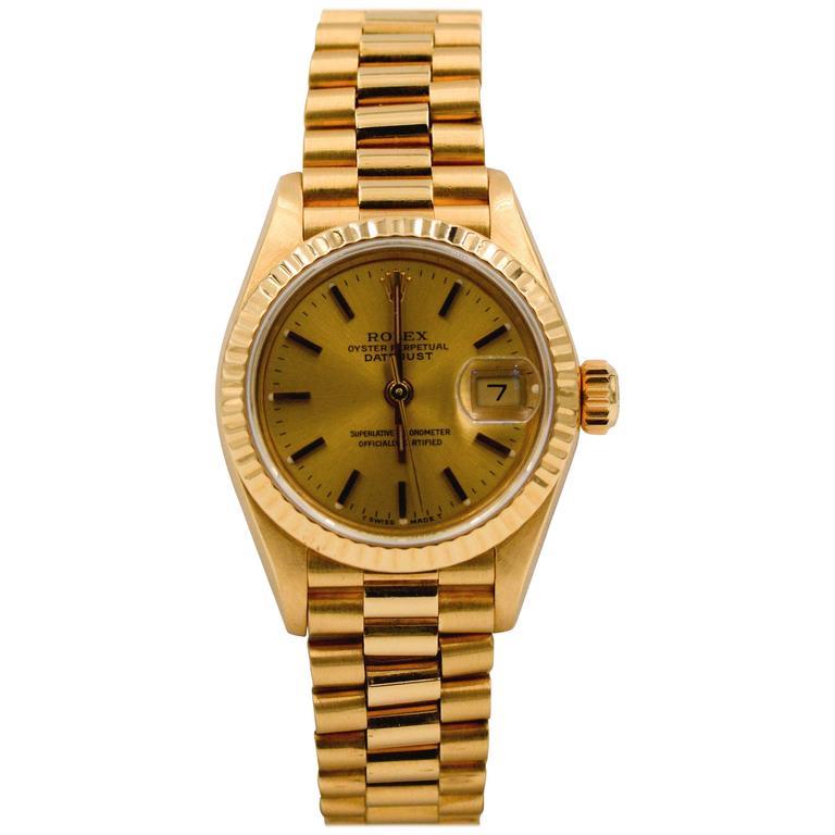 Rolex Ladies Yellow Gold Datejust President Automatic Wristwatch Ref 69178