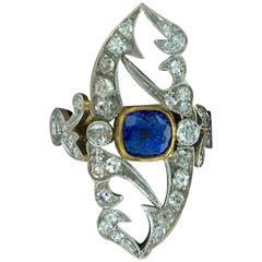 Art Nouveau Sapphire Diamond Gold Platinum Ring