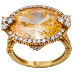 Judith Ripka Canary Color Topaz Ring