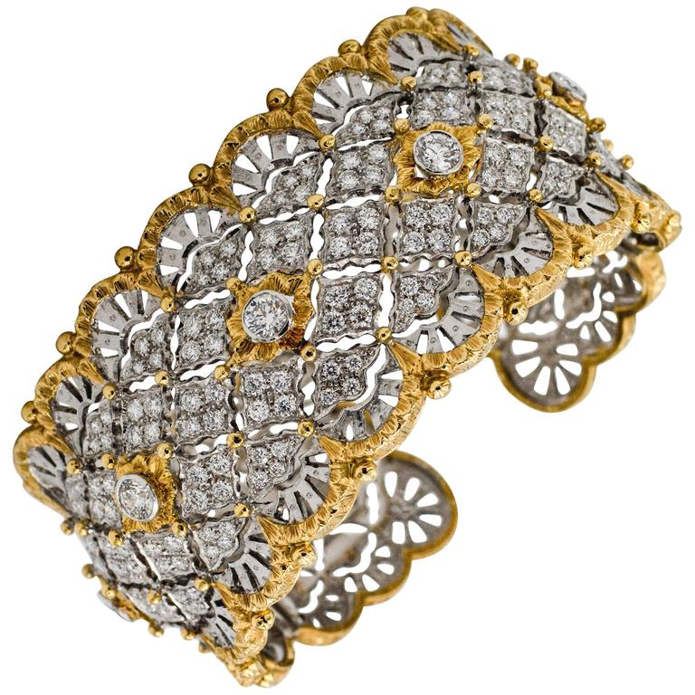 6.15 Carats Diamonds Yellow Gold Wide Hinged Cuff Bangle Bracelet  1