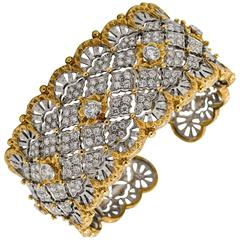 6.15 Carats Diamonds Yellow Gold Wide Hinged Cuff Bangle Bracelet