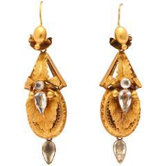 Antique Aquamarine Gold Chandelier Earrings