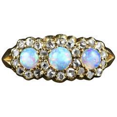 Antique Victorian Opal Diamond Trilogy Ring, circa 1880