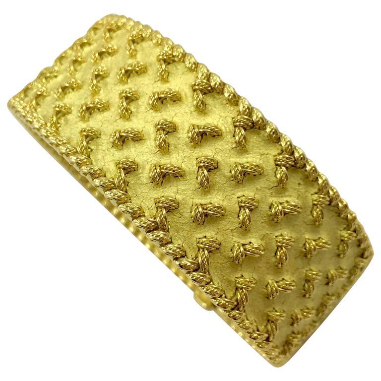 French 1960s Gold Tapestry Mesh Bracelet