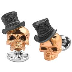 Deakin & Francis Rose Gold Plated Skull Black Spinel Top Hat Cufflinks