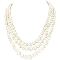 French Three-Strand Japanese Cultured Round White Pearl Necklace