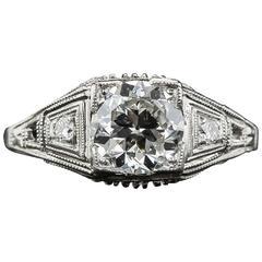 Art Deco 1.24 Carat Diamond Engagement Ring Certified by Katz & Ogush