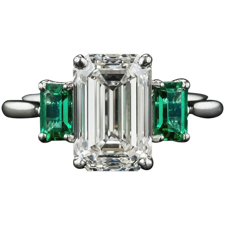 3.01 Carat GIA Emerald-Cut Diamond and Emerald Ring 1