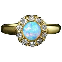 Antique Victorian Opal Diamond Yellow Gold Ring, circa 1880