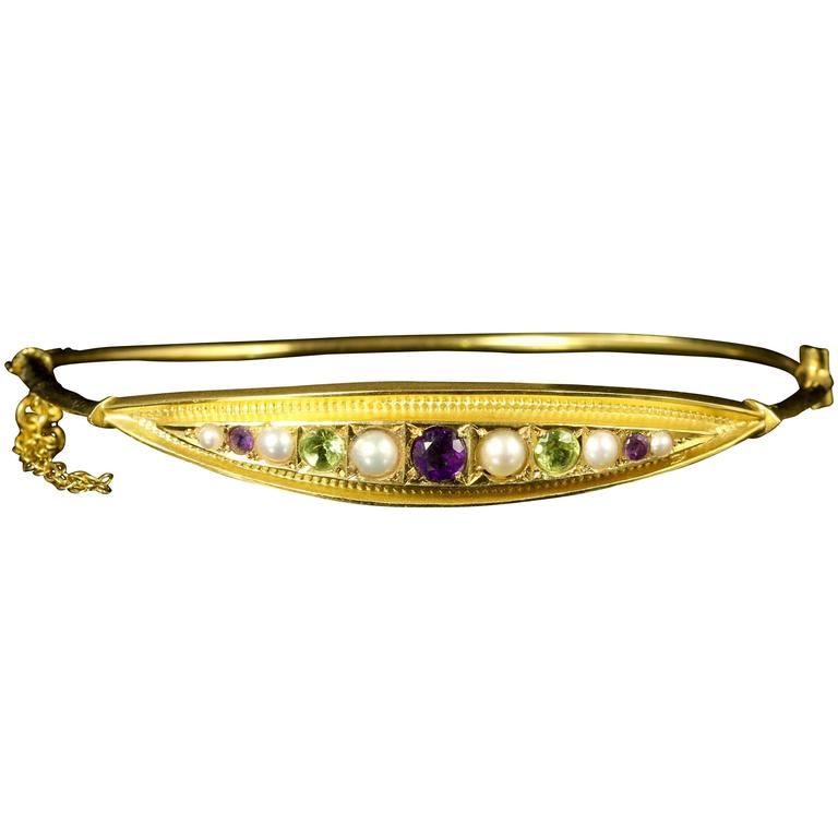 Antique Victorian Amethyst Pearl Peridot Gold Suffragette Bangle