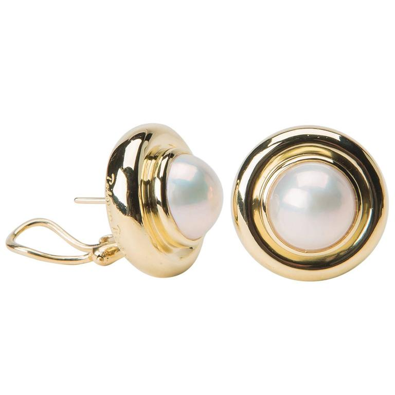 Tiffany & Co. Paloma Picasso Pearl Gold Earrings
