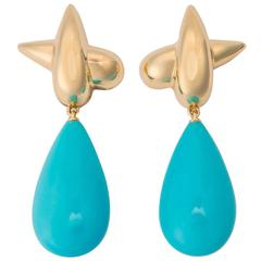 Tiffany & Co. Turquoise Yellow Gold Earrings