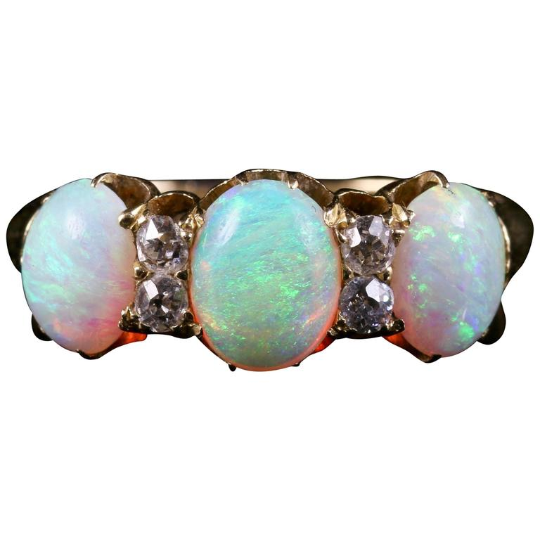 Antique Victorian Opal Diamond Gold Ring, circa 1880