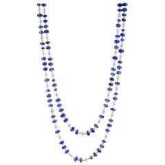 Julius Cohen Sapphire and Pearl Chain Necklace