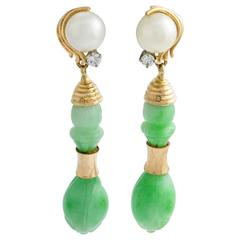 Carved Jade and Pearl Drop Earrings with diamonds in yellow gold