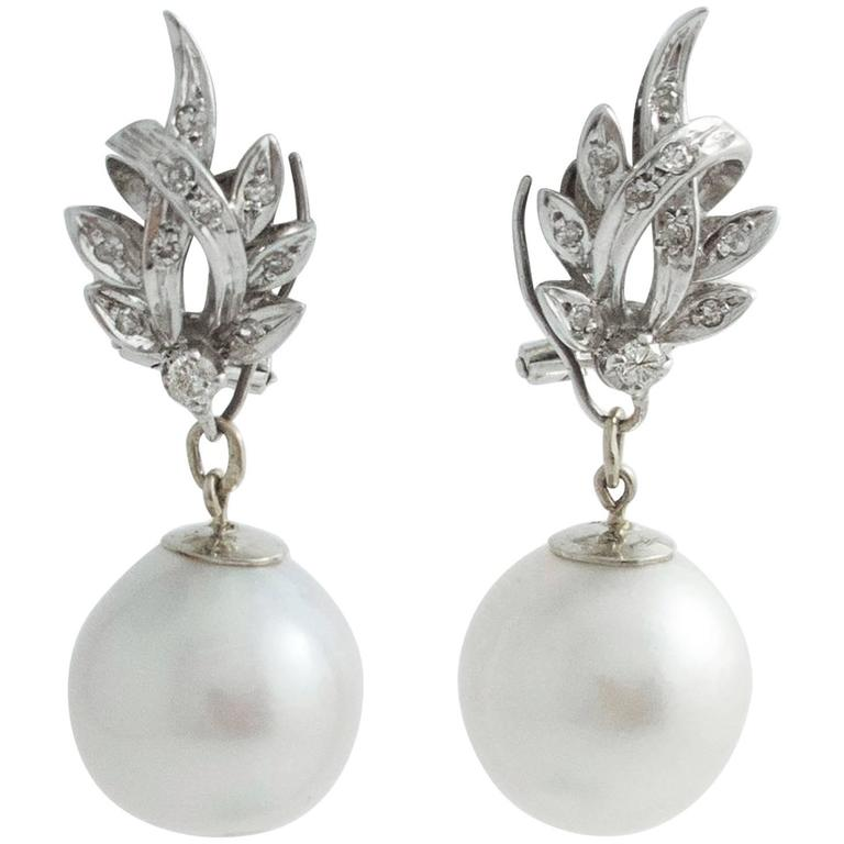 South Sea Pearl Diamond White Gold Convertible Drop Earrings 1