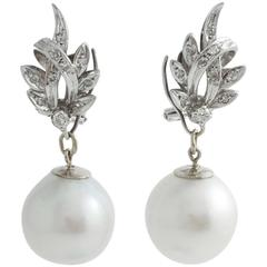 South Sea Pearl Diamond White Gold Convertible Drop Earrings