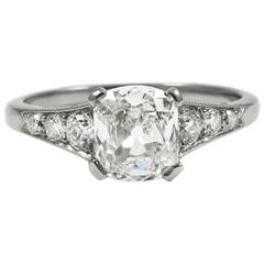 Charming GIA Certified 1.07 Carat Old Mine Cut Diamond White Gold Ring