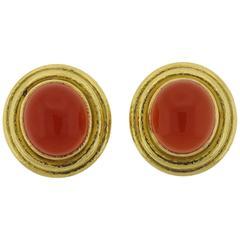 Elizabeth Locke Carnelian Cabochon Gold Earrings