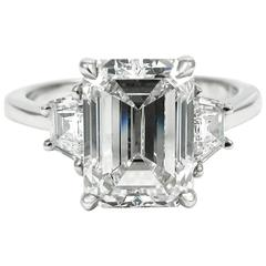 3.21 Carat GIA Emerald Cut Diamond Platinum Three-Stone Ring