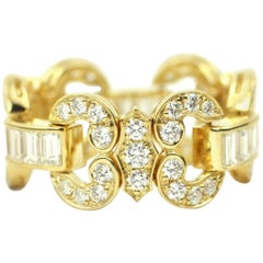 Diamond and 18 Karat Gold Flexi Ring
