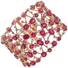 Modern Rubelite Tourmaline Diamond Gold Bracelet